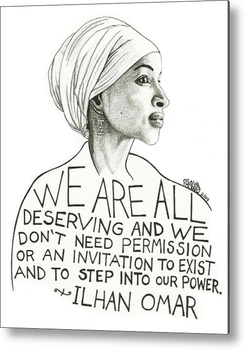 Pen And Ink Illustration Metal Print featuring the drawing Ilhan Omar Drawing by Rick Frausto