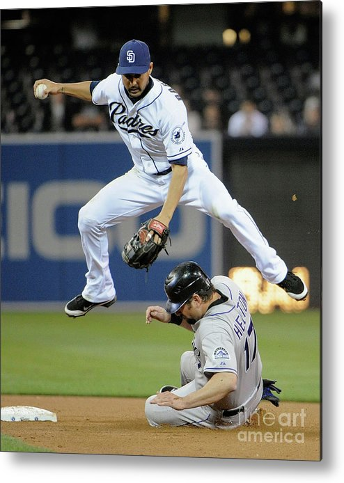 Double Play Metal Print featuring the photograph Jason Bartlett and Todd Helton by Denis Poroy