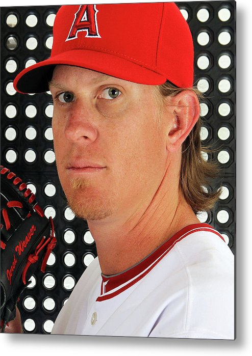 Media Day Metal Print featuring the photograph Jered Weaver by Jamie Squire