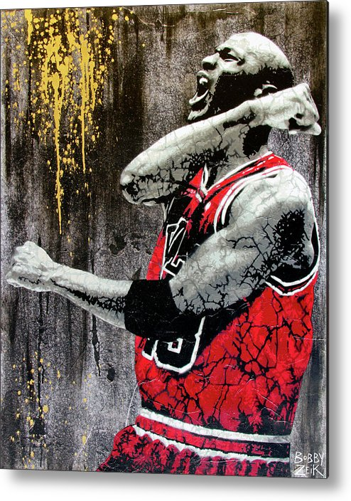 Michael Jordan Metal Print featuring the painting Jordan - The Best There Ever Was by Bobby Zeik