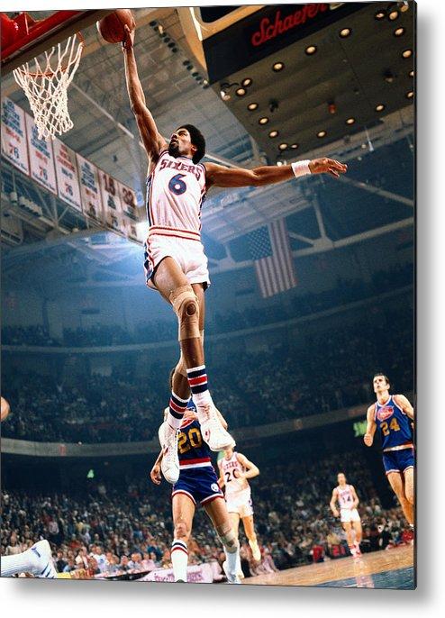 Nba Pro Basketball Metal Print featuring the photograph Julius Erving by Neil Leifer