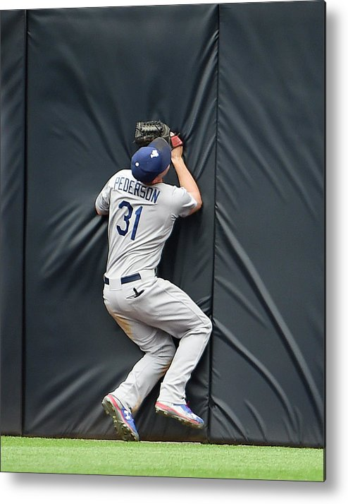 Ninth Inning Metal Print featuring the photograph Justin Upton and Joc Pederson by Denis Poroy