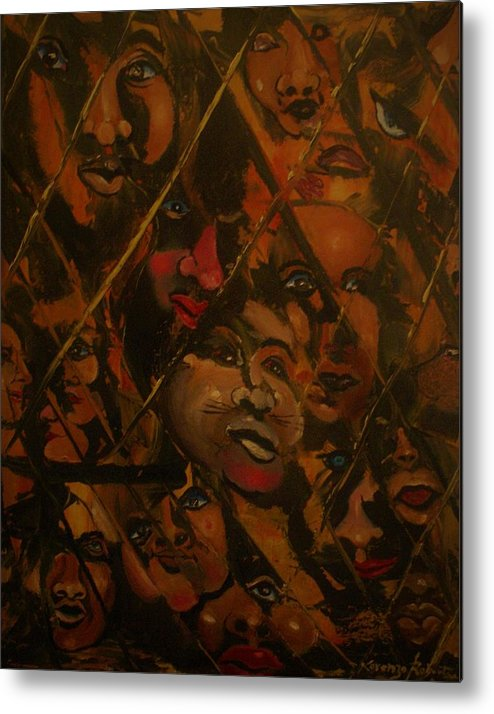 Abstract Metal Print featuring the painting Let Us Out by Lorenzo Roberts