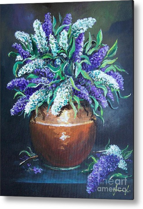 Original Painting Metal Print featuring the painting Lilac by Sinisa Saratlic