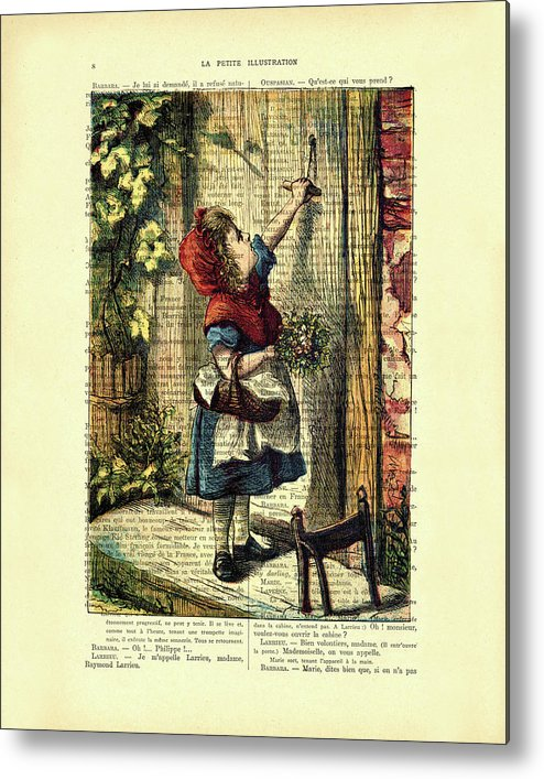 Little Red Riding Hood Metal Print featuring the mixed media Little Red Riding Hood by Madame Memento