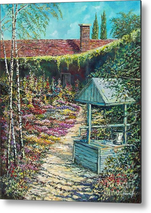 Garden Metal Print featuring the painting Mary's Garden by Sinisa Saratlic