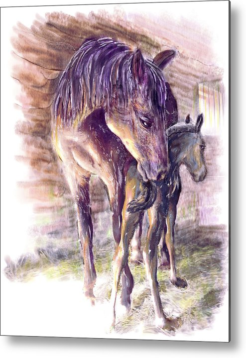 Horse Metal Print featuring the painting Maternal Bond Five Hours Old Arabian Mare With Newborn Foal by Connie Moses