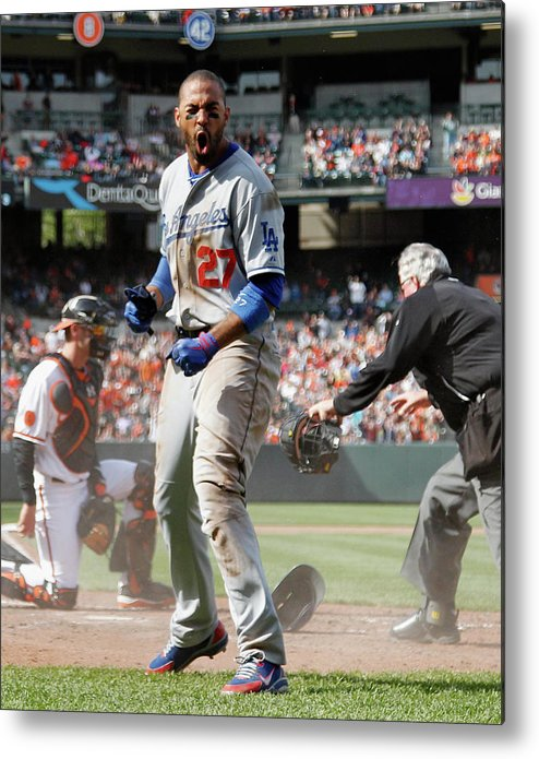 American League Baseball Metal Print featuring the photograph Matt Kemp by Rob Carr