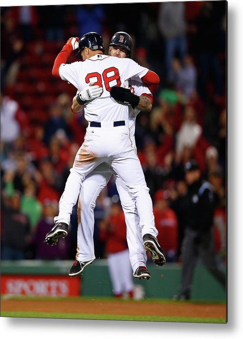 American League Baseball Metal Print featuring the photograph Mike Napoli and Grady Sizemore by Jared Wickerham