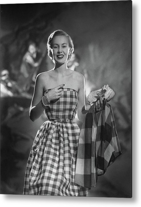 Fashion Metal Print featuring the photograph Mrs. William McManus Wearing Gingham-Check by Ted Croner