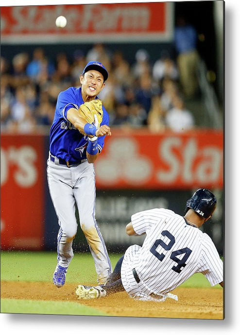 Double Play Metal Print featuring the photograph Munenori Kawasaki and Chris Young by Jim Mcisaac