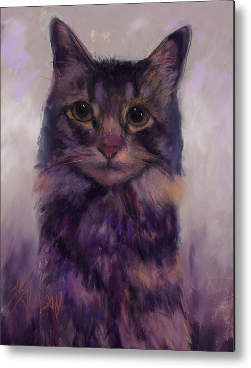Maine Coon Metal Print featuring the pastel Oh Furry One by Billie Colson