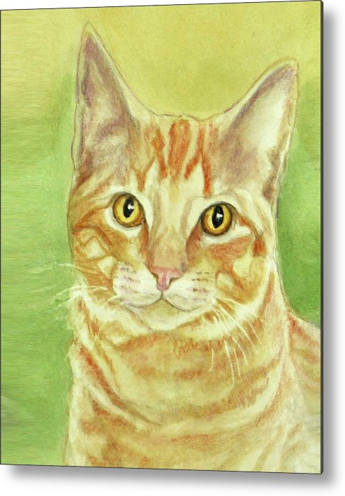Cat Metal Print featuring the painting Orange Tabby Portrait by Phyllis Tarlow