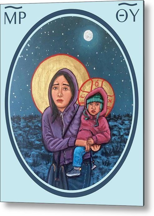 Iconography Metal Print featuring the painting Our Lady of the Journey by Kelly Latimore
