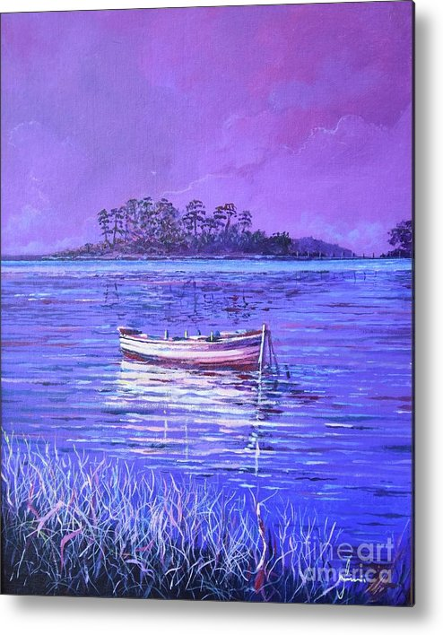 Nature Metal Print featuring the painting Pink Marsh by Sinisa Saratlic