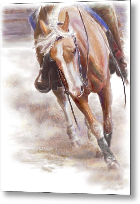 Horse Metal Print featuring the painting Reiner's Grace- Western Reining Horse by Connie Moses