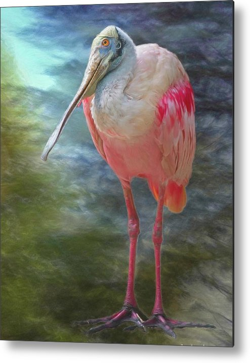 Animals Metal Print featuring the mixed media Roseate Spoonbill No 1 by Steve DaPonte