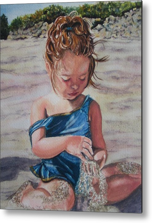 Beach Metal Print featuring the painting Sand by Karen Ilari