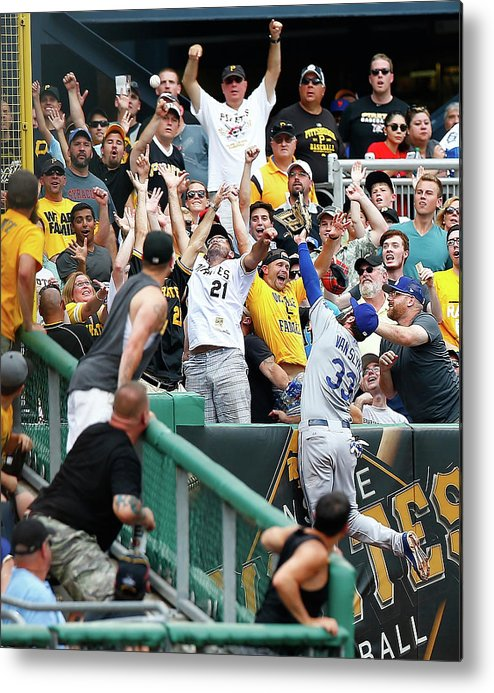 People Metal Print featuring the photograph Scott Van Slyke and Francisco Liriano by Jared Wickerham