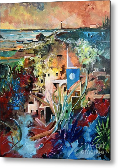 Abstract Metal Print featuring the painting Secret Cove by Sinisa Saratlic