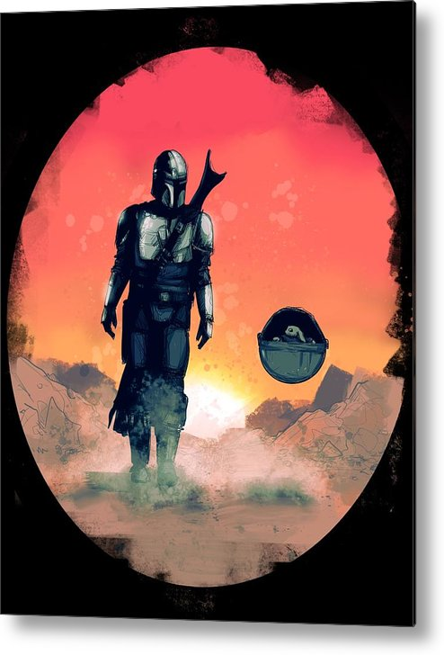 Mando Metal Print featuring the drawing Space Dad by Ludwig Van Bacon