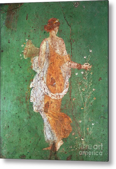 Spring Metal Print featuring the painting Spring, maiden gathering flowers, from the villa of Varano in Stabiae by Roman School