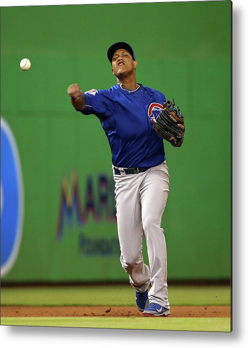 People Metal Print featuring the photograph Starlin Castro by Mike Ehrmann