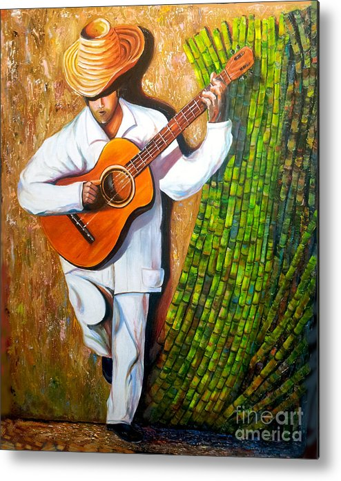 Cuban Art Metal Print featuring the painting Sugarcane Worker by Jose Manuel Abraham