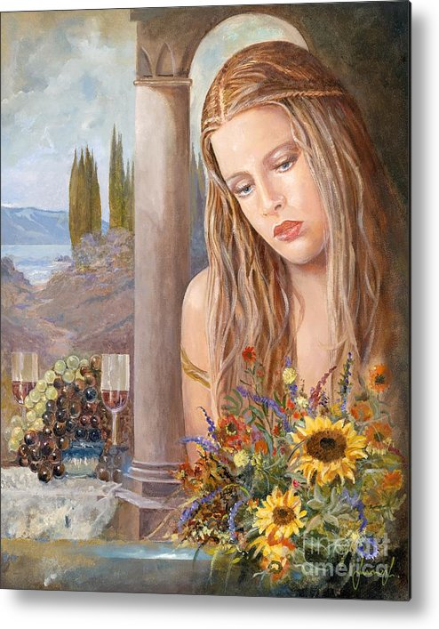 Portrait Metal Print featuring the painting Summer Day by Sinisa Saratlic