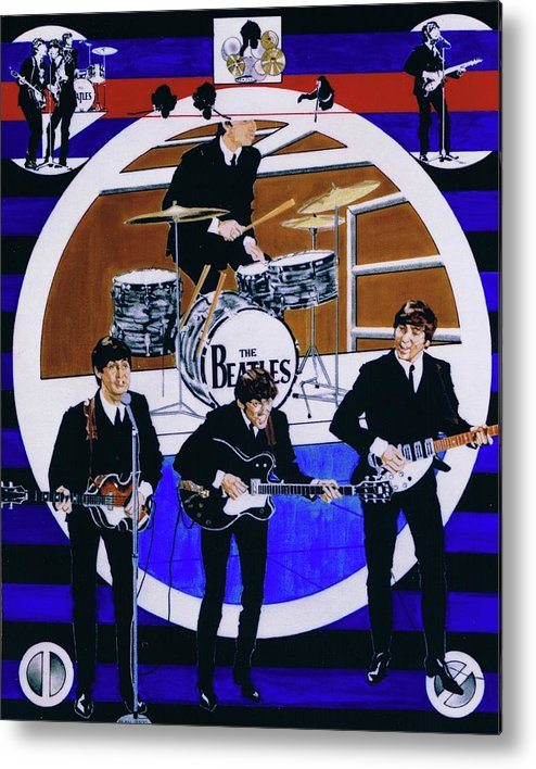 The Beatles Live Metal Print featuring the drawing The Beatles - Live On The Ed Sullivan Show by Sean Connolly
