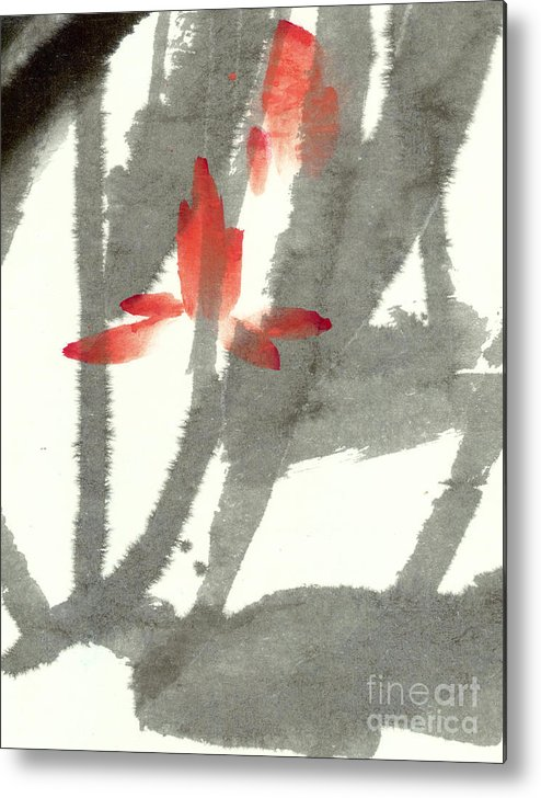 The Translucent Lotus Flowers Float Among Soft Swaying Leaves. This Is A Contemporary Chinese Ink And Watercolor On Rice Paper Painting. Metal Print featuring the painting Translucent by Mui-Joo Wee