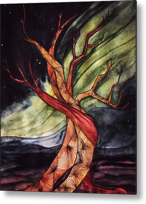 Tree Metal Print featuring the painting Tree with Northern Lights by Vonda Drees