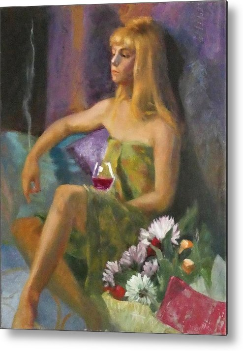 Portrait Metal Print featuring the painting Unloved Flowers by Irena Jablonski
