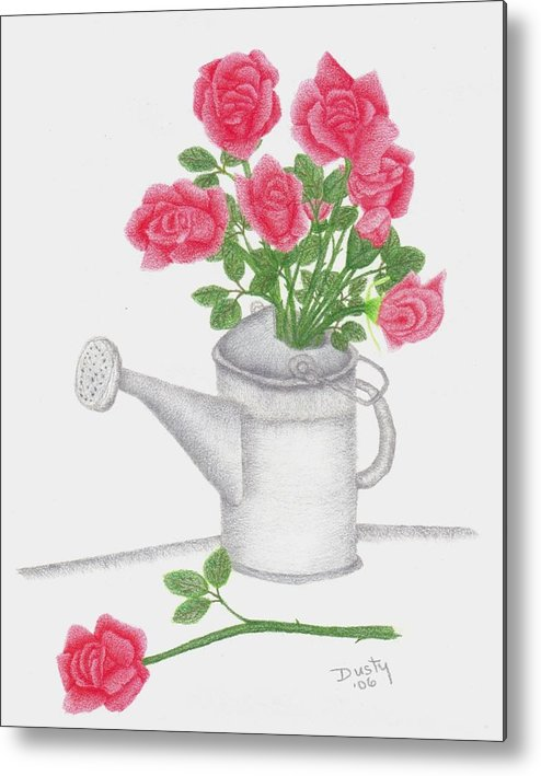 Rose Metal Print featuring the drawing Watering Can With Red Roses by Dusty Reed