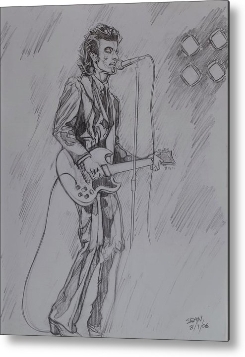 Pencil Metal Print featuring the drawing Willy DeVille - Steady Drivin' Man by Sean Connolly