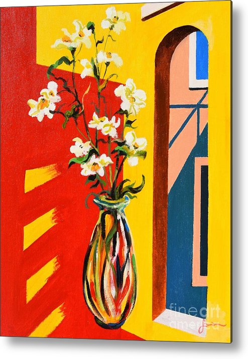 Still Life Metal Print featuring the painting Window by Sinisa Saratlic