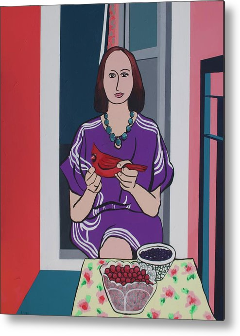 Bird Metal Print featuring the painting Woman, Bird, and Berries - A Tribute to Henri Matisse by Rollin Kocsis