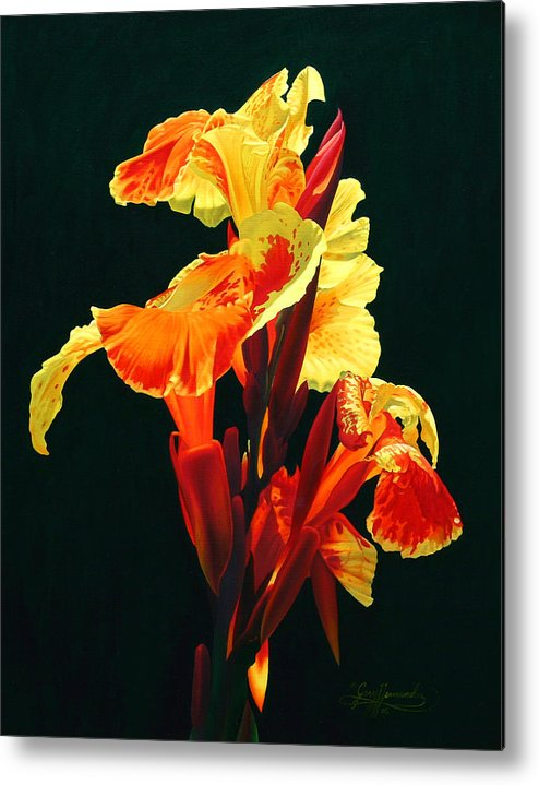 Flowers Metal Print featuring the painting Yellow Cannas by Gary Hernandez