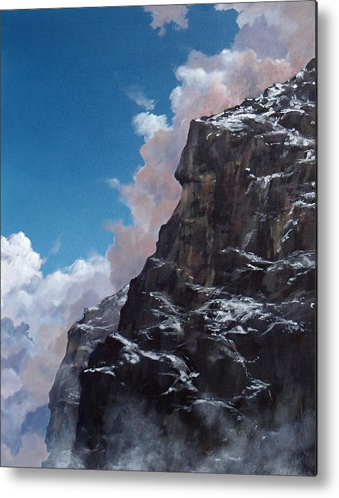 Yosemite Metal Print featuring the painting Yosemite cliff face by Philip Fleischer