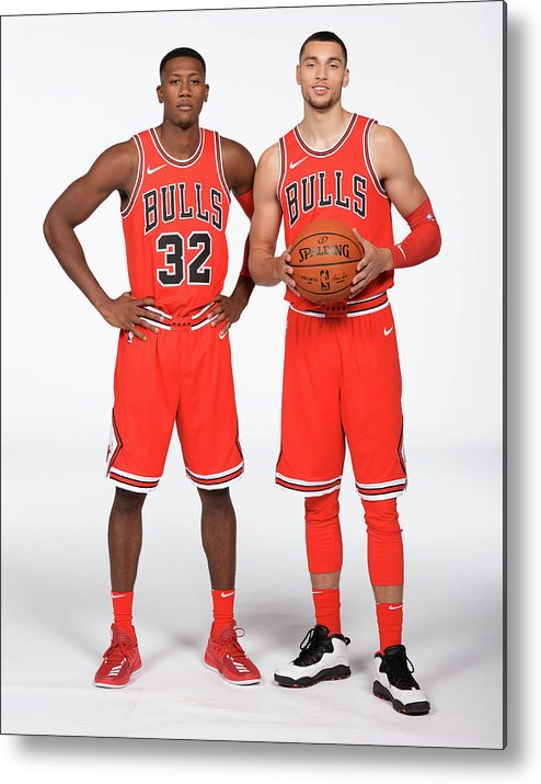 Media Day Metal Print featuring the photograph Zach Lavine and Kris Dunn by Randy Belice