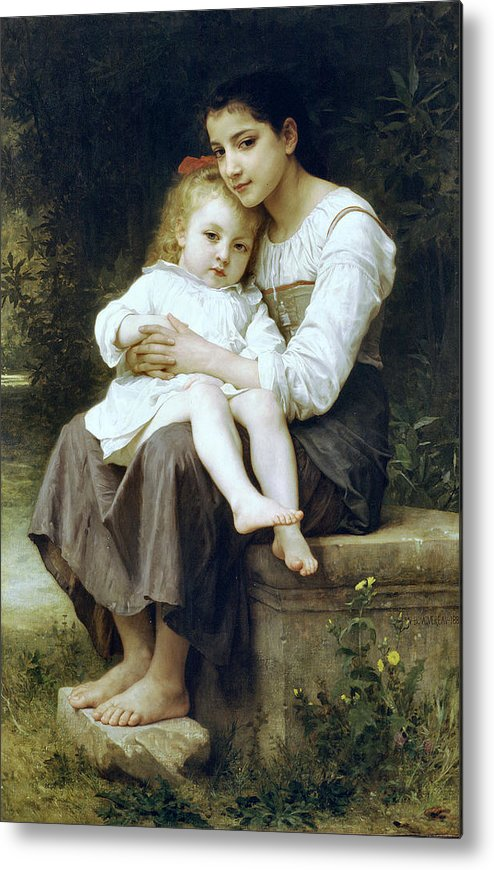 Big Sister Metal Print featuring the digital art Big Sister by William Bouguereau