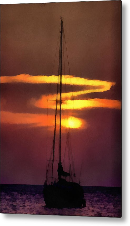 Adventure Metal Print featuring the digital art Yacht At Sunset by Roy Pedersen