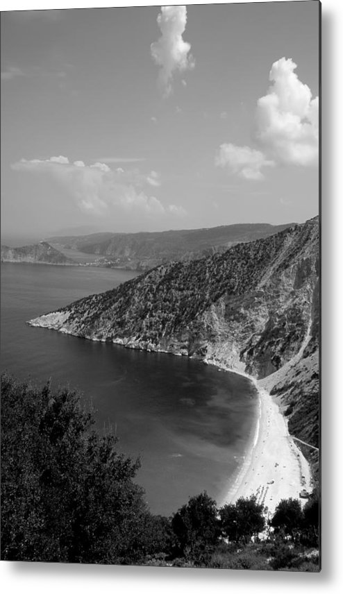 Kefalonia; Kefallonia; Kefallinia; Myrtos; Mirtos; Beach; Ionio; Ionian; Island; Greece; Hellas; Greek; Hellenic; Sea; Holidays; Vacation; Travel; Trip; Voyage; Journey; Tourism; Touristic; Summer; Clear Water; Transparent Water Metal Print featuring the photograph Myrtos Beach by George Atsametakis
