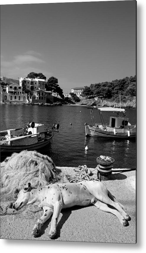 Kefalonia; Kefallonia; Kefallinia; Asos; Fishing; Nets; Ionio; Ionian; Island; Greece; Hellas; Greek; Hellenic; Village; Town; Boat; Boats; Sea; Holidays; Vacation; Travel; Trip; Voyage; Journey; Tourism; Touristic; Summer; Port; Harbor; House; Houses; Black And White; Black + White; B/w; B&w; B+w Metal Print featuring the photograph Asos Village by George Atsametakis