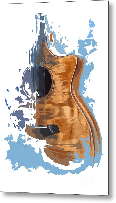 Blue Guitar Metal Print featuring the drawing Acoustic Guitar Blue Background 4 by Drawspots Illustrations