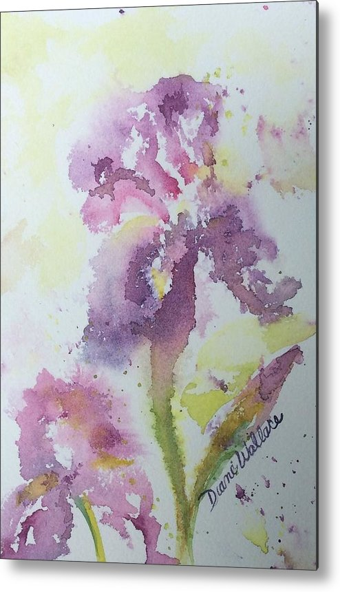 Iris Metal Print featuring the painting Bearded Iris by Diane Wallace