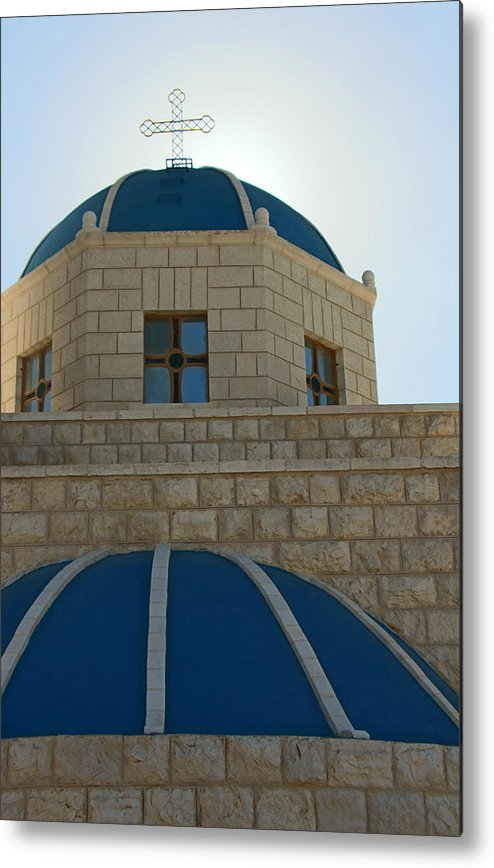 Orthodox Metal Print featuring the photograph Blue Domes by Munir Alawi