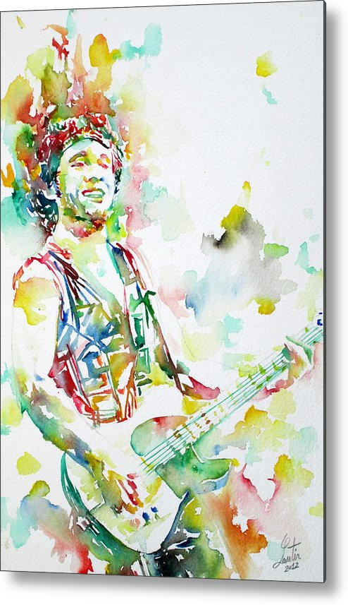 Bruce Metal Print featuring the painting Bruce Springsteen Playing The Guitar Watercolor Portrait.2 by Fabrizio Cassetta