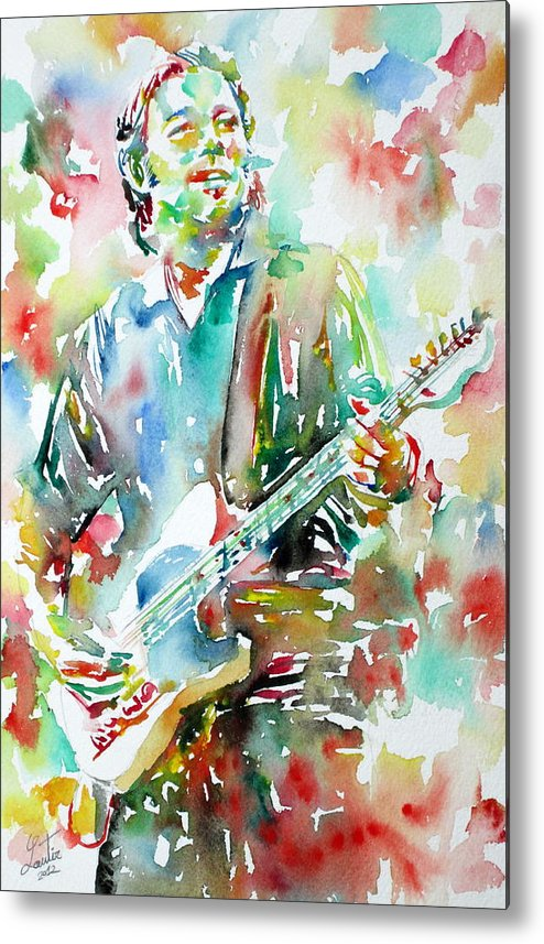 Bruce Metal Print featuring the painting Bruce Springsteen Playing The Guitar Watercolor Portrait.3 by Fabrizio Cassetta
