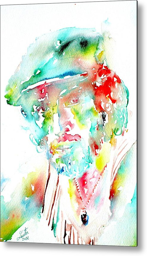 Bruce Metal Print featuring the painting Bruce Springsteen Watercolor Portrait by Fabrizio Cassetta